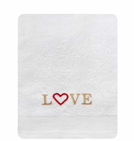Towel Aqua Love - white