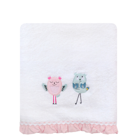 Towel Baby 25 Birds 70x140 - white + pink